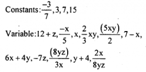 KSEEB Solutions for Class 8 Maths Chapter 2 Algebraic Expressions Ex. 2.1 2