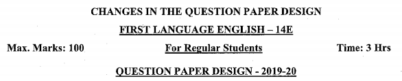 Karnataka SSLC English Model Question Paper Design 1st Language